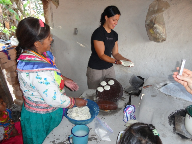 Making fresh corn tortillas in a Nahuatl friend's kitchen.