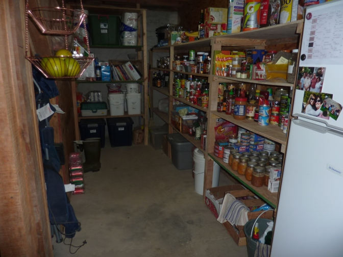 Our pantry and small fridge where we keep our food supply for several months.