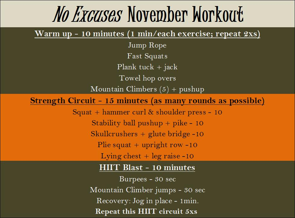 No Excuses November Workout Fitness In The Kitchen
