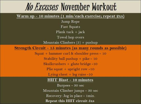 No Excuses November Workout 2013